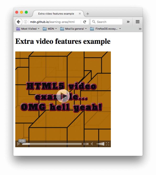 A video player showing a poster image before it plays. The poster image says HTML5 video example, OMG hell yeah!